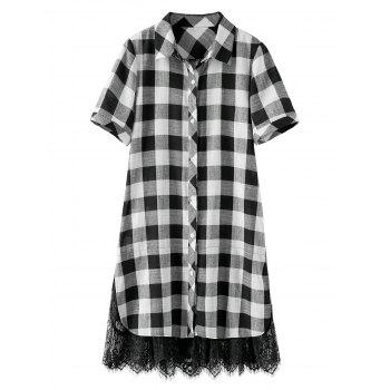Plus Size Lace Trim Plaid Dress