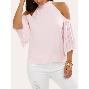 Pleated Cold Shoulder Chiffon Blouse