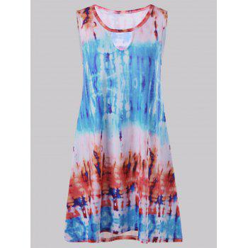 Sleeveless Keyhole Tie Dye Casual Spring Dress Female