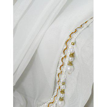 Beaded Pendant Transparent Window Curtain - Blanc W40INCH*L79INCH