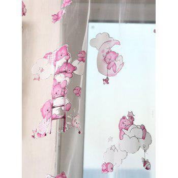 Transparent Cartoon Bear Window Curtain - W40INCH*L79INCH W40INCH*L79INCH