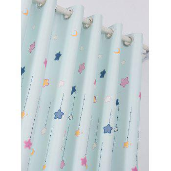 Tower Star Print Window Curtain - LIGHT BLUE W40INCH*L79INCH