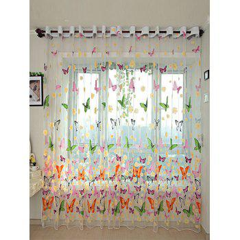Butterfly Flower Sheer Window Curtain