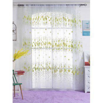 Flower Printed Sheer Window Curtain