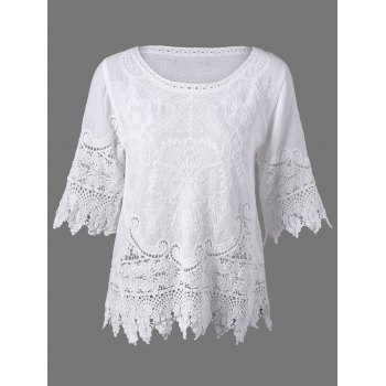 Bell Sleeve Lace Panel Hollow Cut Boho Blouse
