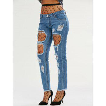 Light Wash Ripped Jeans with Fishnet Tights - DEEP BLUE M