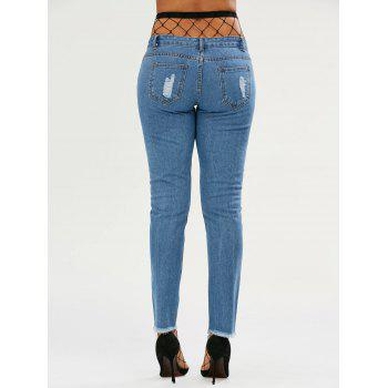 Light Wash Ripped Jeans with Fishnet Tights - DEEP BLUE L
