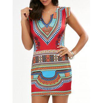 Bodycon Cap Sleeve African Tribal Dress