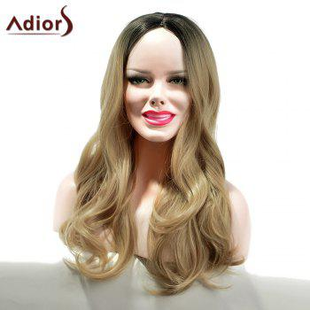 Adiors Long Gradient Middle Part Dyeing Wavy Synthetic Wig