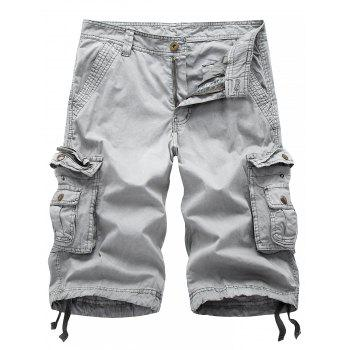 Drawstring Design Zip Up Pockets Cargo Shorts