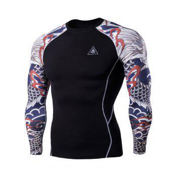 Raglan Sleeve Dragon Tattoo Print Workout T-Shirt