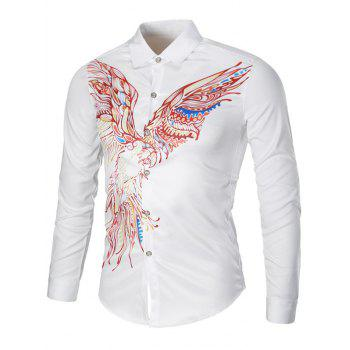 Turndown Collar Long Sleeve Eagle Graphic Print Cool Shirt
