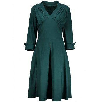 V Neck A Line Plus Size Tea Length Dress