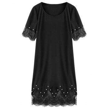 Plus Size Pearl Embellished Lace Tim Dress
