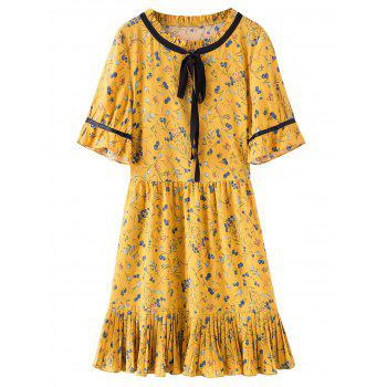 Floral Print Plus Size Pleated Hem Dress
