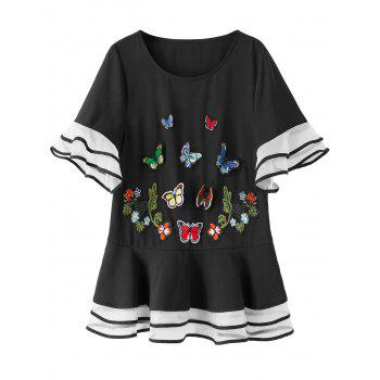 Flare Sleeve Plus Size Butterfly Top