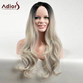 Adiors Long Ombre Middle Part Wavy Dark Root Synthetic Wig