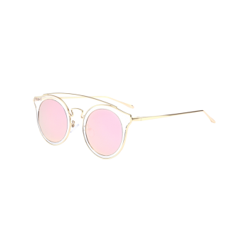 Mirror Cat Eye Cambered Metal Crossbar Lunettes de soleil
