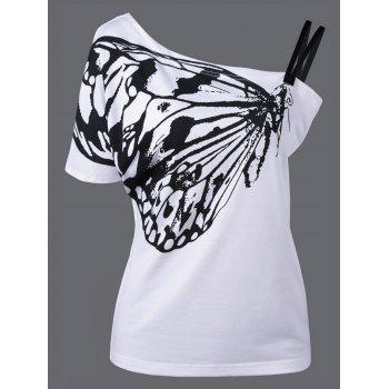 One Shoulder Butterfly Plus Size T-Shirt