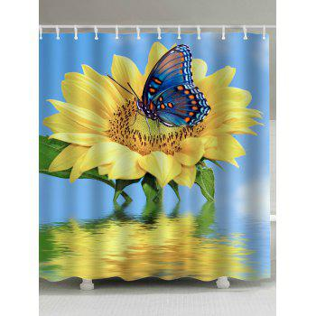 Sunflower Butterfly Extra Long Shower Curtain