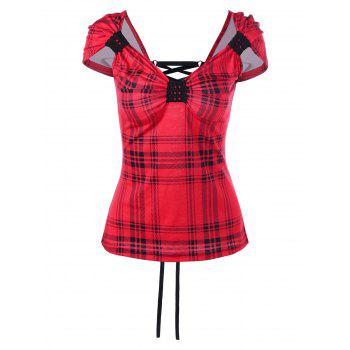 Cap Sleeve Back Lace-Up Plaid T-Shirt