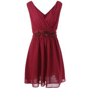 Plus Size Embellished Chiffon V Neck Mini Dress