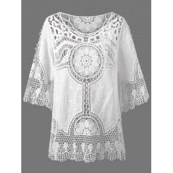 See Through Lace Crochet Cover Up Top