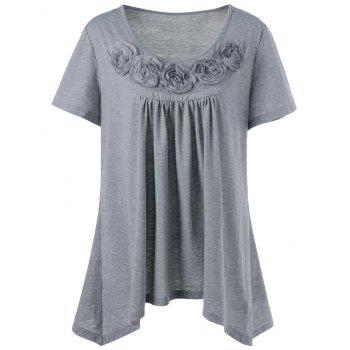 Plus Size Ribbons Embellished Swing Top