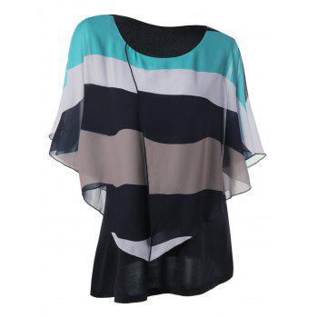 Plus Size Butterfly Sleeve Chiffon Stripe Top