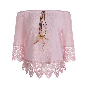 Floral Lace Insert Blouse with Feather