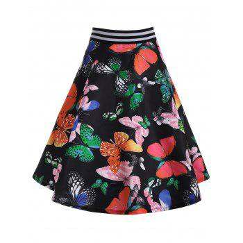 High Waisted Butterfly Print Skirt