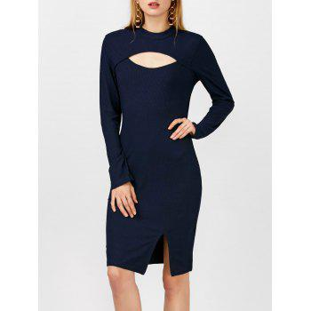 Mock Neck Ribbed Cutout Bodycon Slit Dress With Long Sleeves
