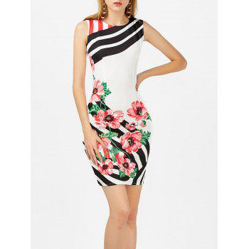 Floral Print Stripe Sleeveless Bodycon Dress