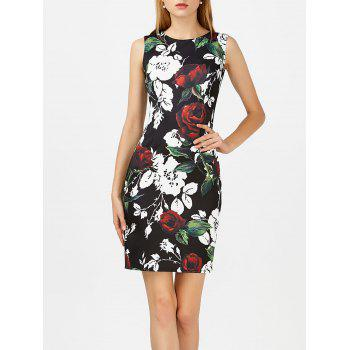 Rose Print Slit Sleeveless Bodycon Dress