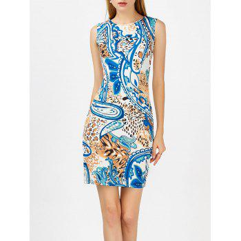 Paisley Print Sleeveless Bodycon Dress