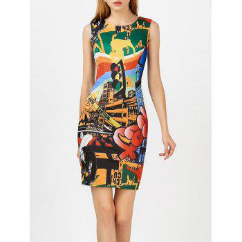 Colorful Printed Sleeveless Short Bodycon Dress