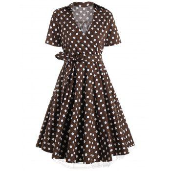 Plus Size A Line Polka Dot Casual Dress - COFFEE 3XL
