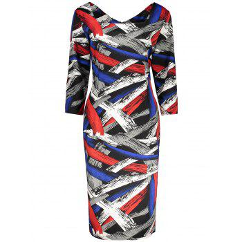 Plus Size Print Knee Length Fitted Dress