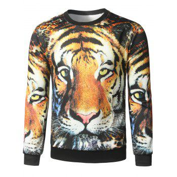 Crew Neck Tiger Face Printed Graphic Sweatshirts