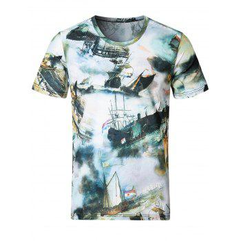 Stretchy Smooth 3D Boats Print T-Shirt