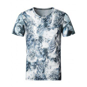 Stretchy Smooth 3D Peacock Print T-Shirt