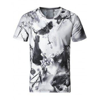 Stretchy Smooth Wash Painting Print T-Shirt