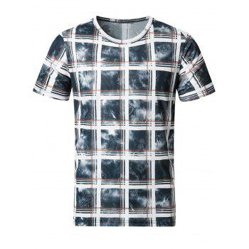 Breathable Tie Dye Print Plaid T-Shirt