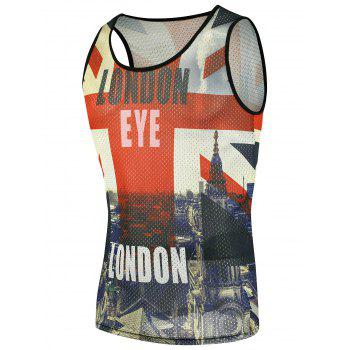 Building Graphic Print Mesh Tank Top