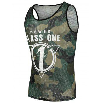 Graphic Camo Print Mesh Tank Top