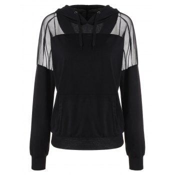 Drawstring Mesh Insert Hoodie with Pocket