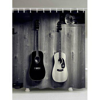 Vintage Guitar Shower Curtain with Hooks Rings