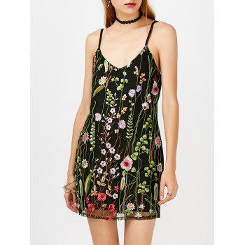Mesh Overlay Floral Embroidered Bodycon Dress