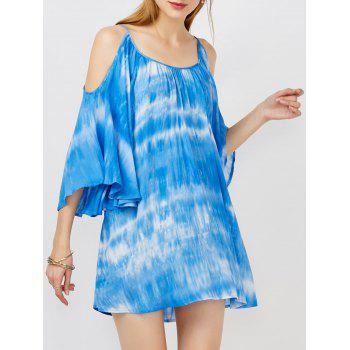 Cold Shoulder Tie Dye Casual Dress