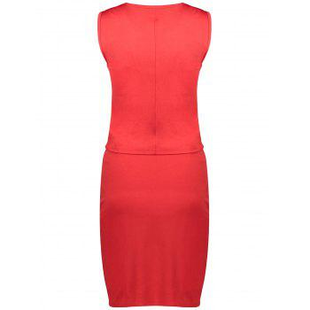 Sleeveless Ruched Sheath Two Piece Dress - RED RED